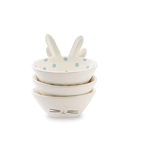 Mud Pie 48500030 Easter Bunny Nested Set of 3 Bowls One size White ()