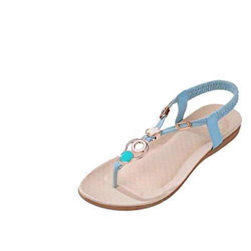 Sandalias de la manera de las mujeres, Internet Bohemia del dulce de abalorios zapatos de la playa del clip del dedo del pie Azul