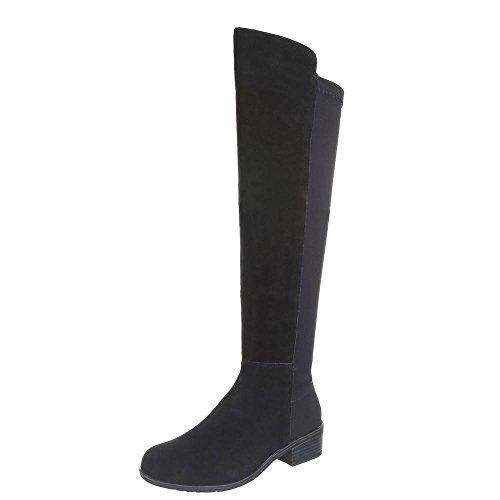 Ital-Design B8519-HB Women's Lined Suede Boots Black - Black rKksT