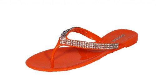 Reid! By Soda Diamond Chain Flip Flop Thong Sandal, orange pvc, 9 M