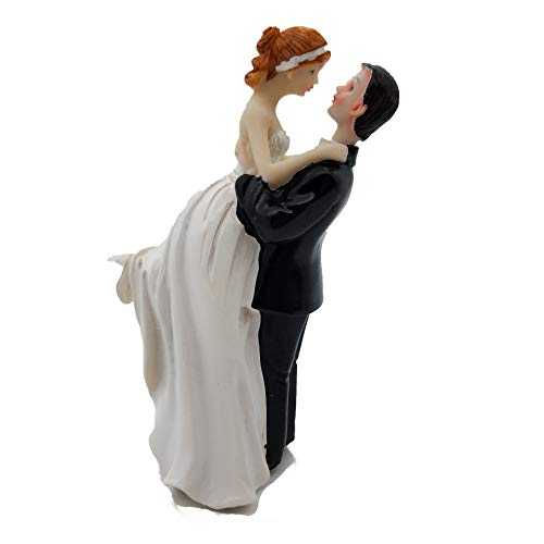 - SCHOLMART Funny Bride and Groom Decorative Wedding Cake Toppers - Cake Topper Figurines, Keepsake Wedding Cake Decorations in Unique Pose (Cheerful Bride & Groom)