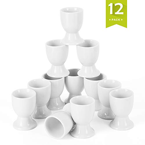 (Malacasa REGULAR-001 12 Piece Series Regular Cups, Porcelain China Ceramic, Cream White Egg Stand Plates, Set of 12, Ivory)