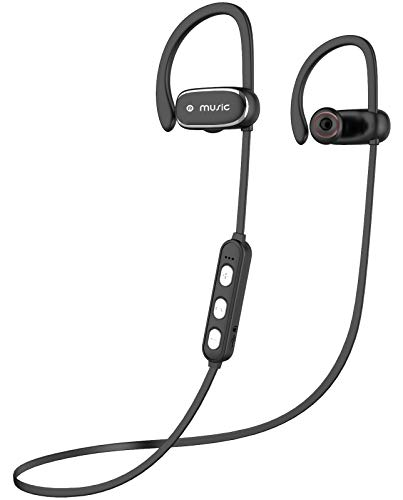 Bluetooth Headphones, FMU [Upgraded] IPX7 Waterproof Wireless Bluetooth Headphones with w/HD Stereo Sound & Noise Cancelling Mic, Bluetooth Earphones for Running, Workout, Gym (Black Silver)