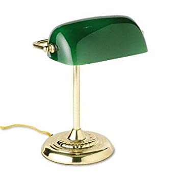 Exceptional Ledu   Traditional Incandescent Bankeru0027s Lamp Green Glass Shade 14u0026quot;H  Brass Base U0026quot;