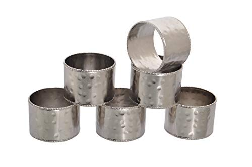 Beaded Edges Hammered Metal Napkin Rings for Wedding Party Decoration Dinning Table Occasion Everyday Family Gatherings, Set of 6 - Silver/Nickel - A Beautiful Emphasize to Your Dining Table décor