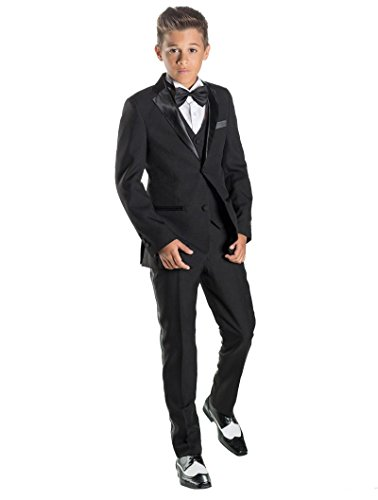Paisley of London, Boys Black Tuxedo with Shirt, Prom Suits, Ring Bearer Suits, ()