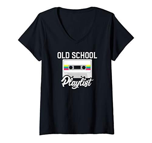 Womens Cassette Tape Music T-Shirt Retro 80s Old School Playlist V-Neck T-Shirt