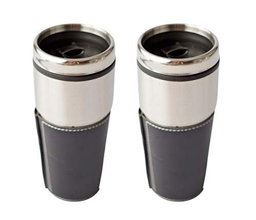 Plastic Lined Stainless Steel Cooley Tumbler with Slide Top Lid and Faux Leather Wrap Sleeve, 16 Ounce, Pack of - Lined Leather Wrap