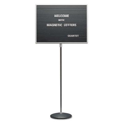 Adjustable Single-Pedestal Magnetic Letter Board, 20 x 16, Black/Gray Frame, Sold as 1 Each by Quartet