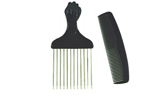 Afro Hair Pick w/ Black Fist and Comb Set- Metal African ... - photo#13