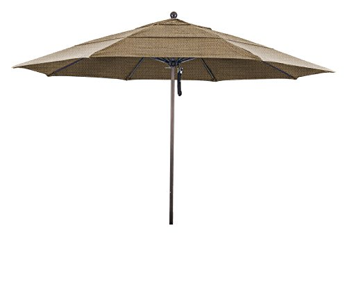 Ben&Jonah Eclipse Collection 11' Fiberglass Market Umbrella PO DVent Bronze/Olefin/Straw