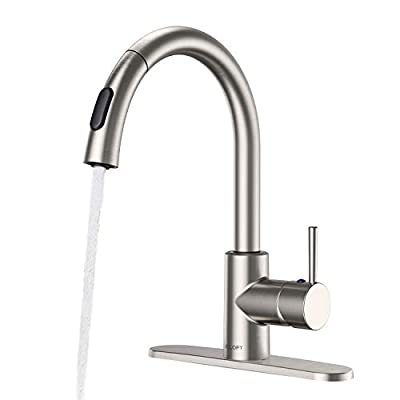 CLOFY Pull Out Kitchen Faucet Single Handle Pull Down Kitchen Faucet Brushed Nickel Kitchen Sink Faucet with Pull down Sprayer