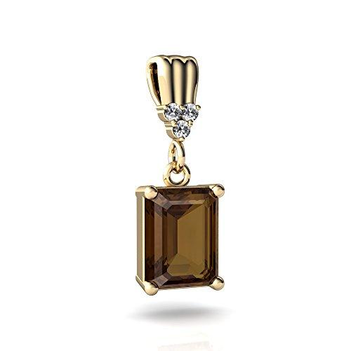 14kt Yellow Gold Smoky Quartz and Diamond 9x7mm Emerald_Cut Art Deco Dangle Pendant