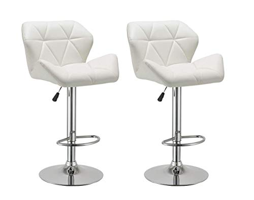 (Duhome Bar Stools Set of 2, Modern Bar Stool with Back White Synthetic Leather Swivel Kitchen Pub Stool)