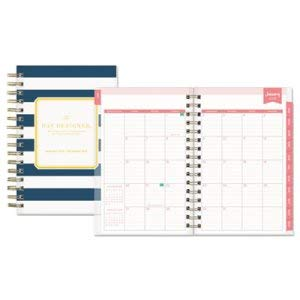 Blue Sky Day Designer Daily/Monthly Planner, 5 X 8, Navy/White, 2017-2018