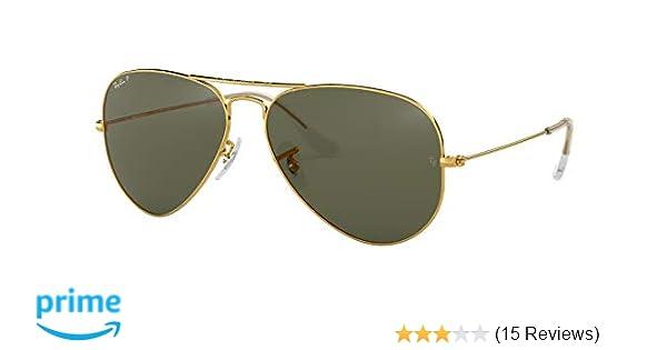 58d7cb8db98ea RAY BAN AVIATOR POLARIZED SUNGLASSES GOLD Crystal Green LENS RB3025 001 58  58MM