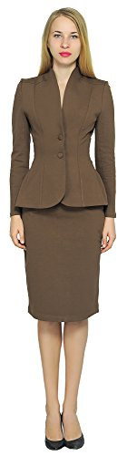 Brown Suiting (Marycrafts Women's Formal Office Business Work Jacket Skirt Suit Set 12 Brown 2)