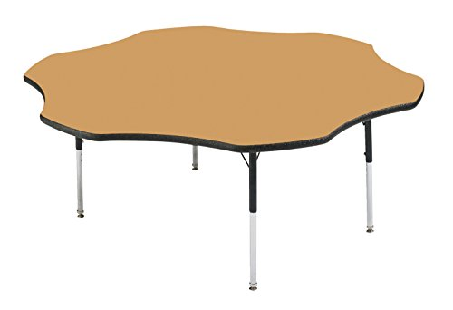 Classroom Select Apollo T-Mold Adjustable Table, Flower, 60 inches, Top Color: Bannister Oak/Edge Color: (Bannister Oak Top)