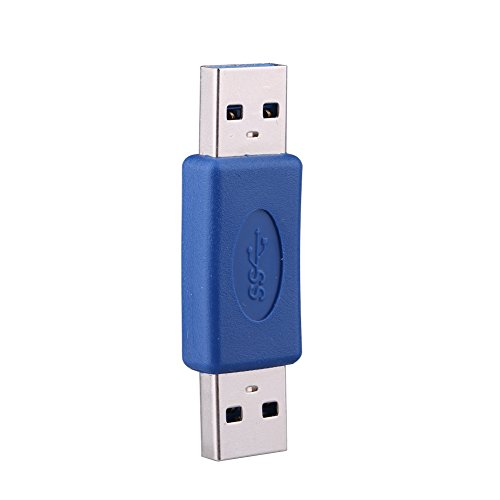 Richer-R USB 3.0 Connector, USB 3.0 Type A Male to Type A Male M-M Coupler Adapter Gender Changer Connector Pro New (Male Molded Gender Changer)