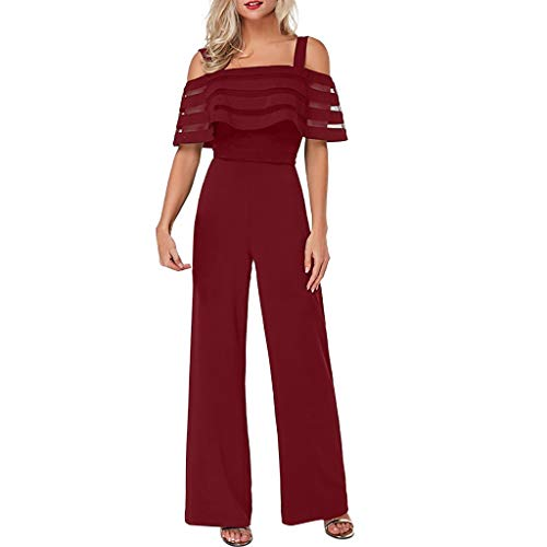 TTINAF Dresses Women Cold Shoulder Jumpsuits, Mesh Panel Ruffled Overlay Playsuits Stappy Wide Leg Long Pants Rompers (X-Large, Red)