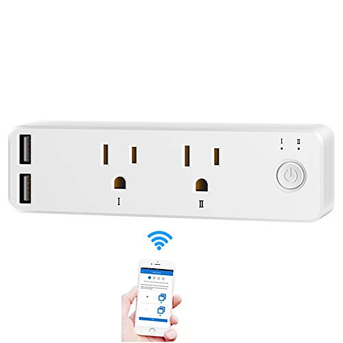- Wireless Smart Plug,Mini WiFi Remote Control Outlet Socket Power Switch Plug with Timer Schedule/APP Control, Compatible with Alexa Google Home(2 Outlets,2 USB Ports)