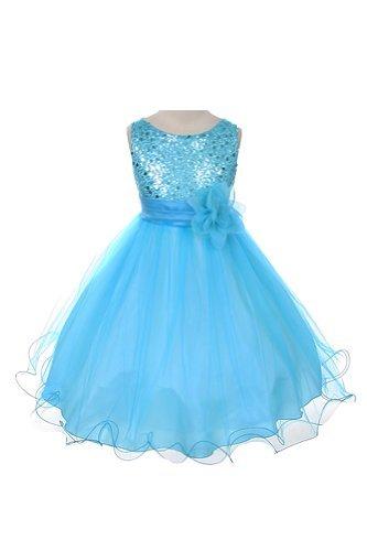 Corpiño de lentejuelas tul ocasión especial Holiday Flor vestido de niña – Aqua 3 – 4