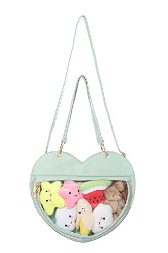 Clear Candy Leather Handbag Kawaii Purse Transparent Backpacks Love Heart Shape Crossbody Bags Lolita Ita Bag Green