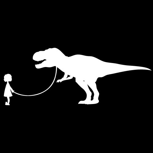 Little Girl Walking a Dinosaur T-Rex Decal Sticker 10x4 White/Black (Little Girl Walking)