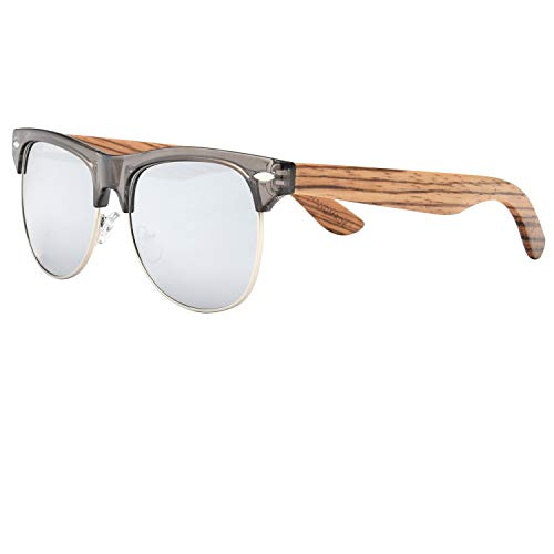 Ablibi Bamboo Wood Semi Rimless Sunglasses with Polarized Lenses in Original Boxes (Zebra Wood, Silver)