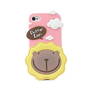 PEACH- 3D Colorful Cute Butter Lion Rubber Cover Case for Apple iPhone 4S/4(Assorted Colors) , Dark Blue