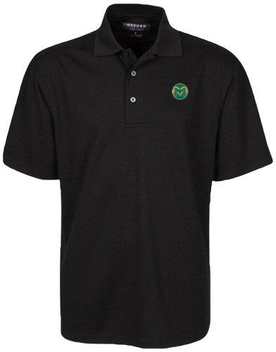 Oxford NCAA Colorado State Rams Men's Micro-Check Golf Polo, Black, Small by Oxford