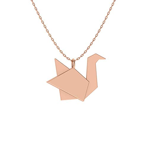 Diamondere Natural and Certified Origami Swan Necklace in 14k Rose Gold | Pendant with Chain