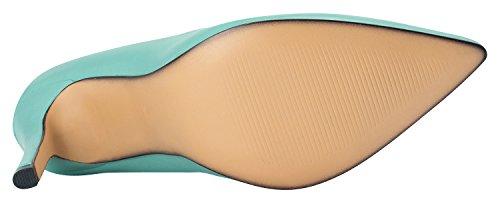 Annakastle 100mm Stiletto Talon Femmes En Cuir Véritable Bout Pointu Pompes Robe Chaussures Menthe