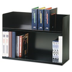 Two-Tier Book Rack, Steel, 29 1/8 x 10 3/8 x 20, Black