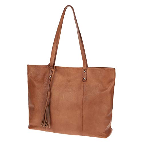 - The Traveler Tote by Cedrus | Top-Grain Leather Tote Bag, Shoulder Bag for Women in Brown - CW31001 (Regular Size)