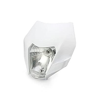 JFG RACING White Universal Headlight Head Lamp Light Fairing Street Fighter Mask Day Running Light For For Honda Yamaha Suzuki Kawasaki: Automotive