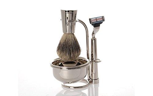 Erbe Shaving Set, Gillette Mach3 Razor, Shaving Brush, Stand, Bowl, nickelplated ()