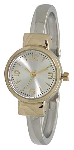 Fashion Watch Wholesale Ladies Western Simple Metal Bangle/Cuff Watch with Small Round Face (Two Tone)
