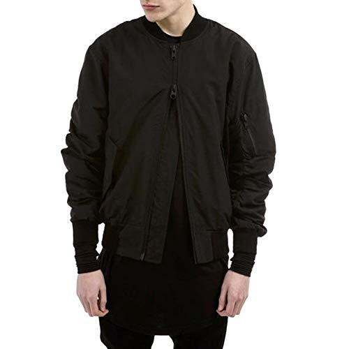 LETSQK Men's MA-1 Air Force Solid Classic Flight Bomber Jacket with Harness Black XL