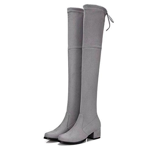 AIYOUMEI Damen Blockabsatz Langschaft Overknee Stiefel Elegant Stretch Stiefel Schuhe Hellgrau