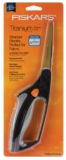 Titanium Bent Scissors - 1 Pair of Fiskars Titanium Blade Coating Softgrip Scissors for Mixed Media Use (Fabric, Paper, etc) with Sharpener (2 Pack), Orange