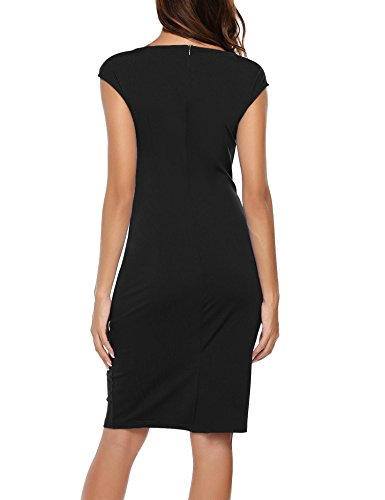 Asymmetric Casual Angvns Pencil Ruched Work Twist Black Dress Wear to Neckline Womens CW8nT7Wp5