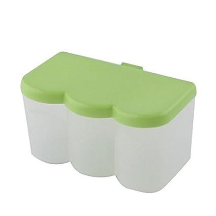 Titular dispensador eDealMax plástico de cocina 3 Componentes Especias contenedor caja del condimento verde