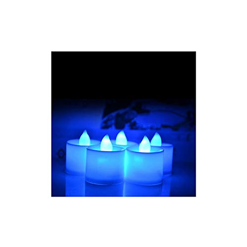 10 PCS Battery Powered LED Candle Multicolor Lamp Simulation Color Flame Flashing Tea Light Home Wedding Birthday Party ()