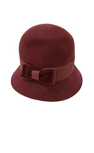 August Accessories Women's Velvet Bow Wool Toppers Cloche (OS, Burgundy)