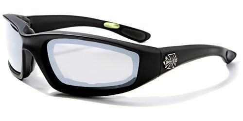 (Choppers Mens Biker Padded Motorcycle Goggles Glasses - Several Lens Colors Available! (Black - Smoke Lens) )