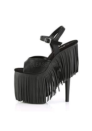 M BPU Sandals 809FRG Blk Pleaser Leather Matte Womens Blk Faux FLAMINGO qwtBUIX