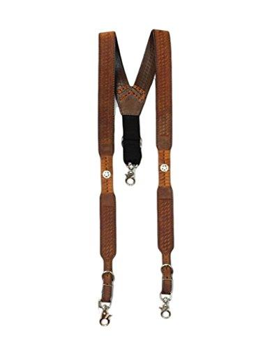 M & F Western Men's Nocona Embossed Basketweave Star Concho Suspenders Med Brown X-Large