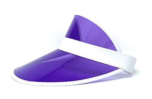 Retro Tennis Colored Vinyl Sun Visor, Set of 1 Plastic Color Visor, Perfect Neon Visor Beach Hat, Dealer Costume Visor, Vegas Visor, Bingo Hat, Retro 80s Visor , and Music Festivals (Purple) ()