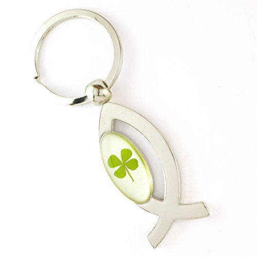 Genuine Real Four Leaf Lucky Clover Shamrock Crystal Amber Key Chain/Keychain, Lucky Ichthys, Jesus Fish, Christian Protection !